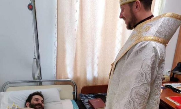 Bishop Mykola Bychok celebrated his first Hierarchical Divine Liturgy at the bedside of a sick priest